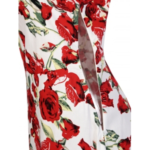 Retro Rose Floral Midi Dress -