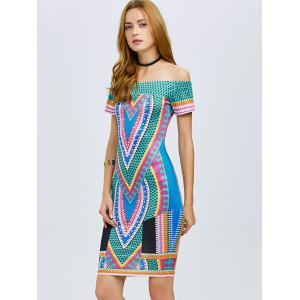 Tribe Printed Off The Shoulder Bodycon Dress -