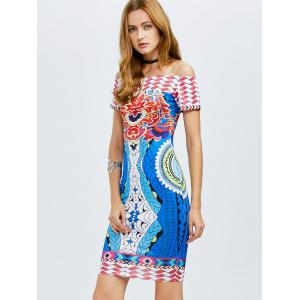Off The Shoulder Tribe Printed Bodycon Dress -