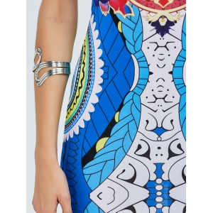 Off The Shoulder Tribe Printed Bodycon Dress - COLORMIX 2XL