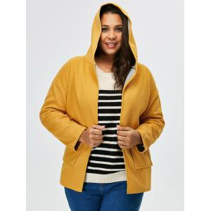 Plus Size Open Front Jacket With Hood -
