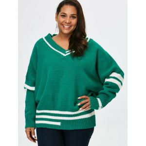 Plus Size V Neck Cricket Striped Sweater - Green - 5xl
