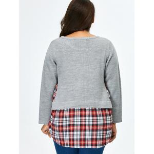 Plus Size Long Sleeve Plaid Insert Sweater - GRAY 5XL