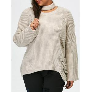 Plus Size Pullover Ripped Sweater