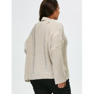 Plus Size Pullover Ripped Sweater -