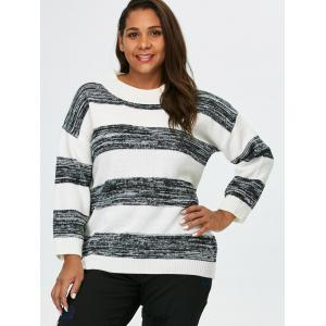 Plus Size Crew Neck Block Stripe Sweater