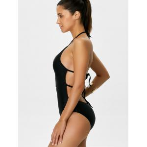 Backless Criss Cross Halter Bathing Suits - BLACK XL