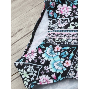 Ethnic Floral Halter One Piece Swimwear -