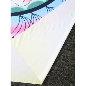 Cloud Tassel Printed Ombre Rectangle Beach Throw - WHITE ONE SIZE
