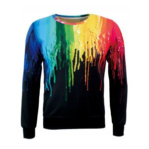 Crew Neck Splatter Paint Flocking Sweatshirt
