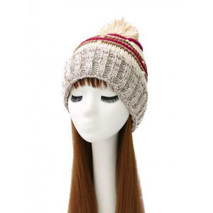 Faux Pearl Knit Thicken Crochet Striped Hat - Off-white - One Size