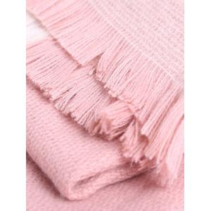Oblong Plaid Pattern Long Wrap Scarf with Fringed Edge -