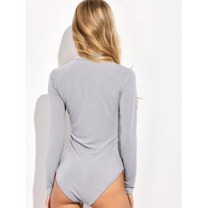 Long Sleeve Spandex Button Cuff Knit Bodysuit -