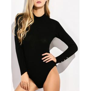 Long Sleeve Spandex Button Cuff Knit Bodysuit
