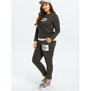 Plus Size Pockets Design Funny Outfits - DEEP GRAY 4XL