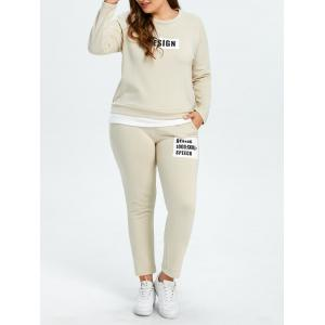 Plus Size Pockets Design Funny Outfits - Beige - 5xl