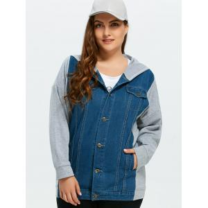 Plus Size Denim Trim Hooded Jacket -