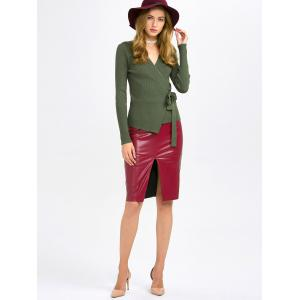 Surplice Knitwear and PU Leather Skirt -