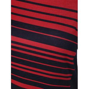 Striped Asymmetrical Two Tone T-Shirt - STRIPE XL