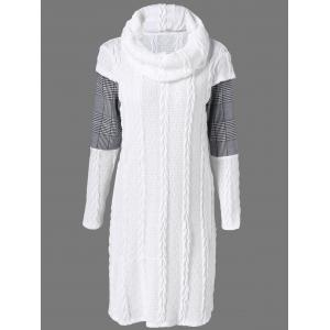 Plaid Cowl Neck Jumper Dress - White - L