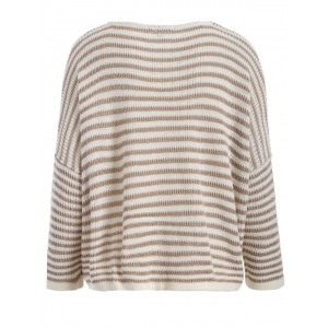 V Neck Stripe Oversized Sweater - STRIPE 2XL