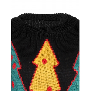 Crew Collar Sweater With Christmas Tree Graphic -