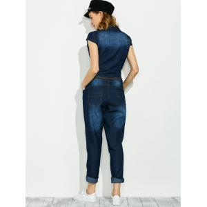 Denim Buttoned Jumpsuit with Pockets -