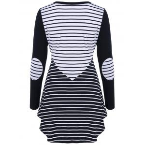 Elbow Patch Striped Tunic T-Shirt -