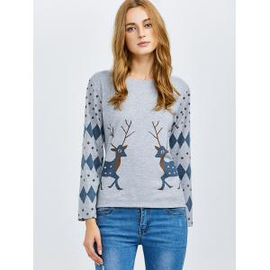Deer Print Long Sleeve Tee - GRAY 2XL