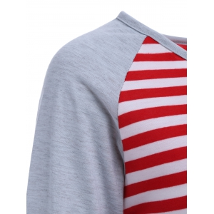 Stripe Elbow Patch Long Sleeve Baseball T-Shirt - RED XL