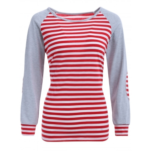 Stripe Elbow Patch Long Sleeve Baseball T-Shirt