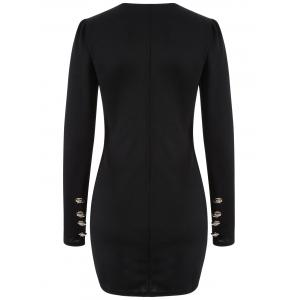 Long Sleeve Double Breasted Bodycon Dress -