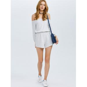 Off Shoulder Long Sleeve Striped Romper - WHITE XL