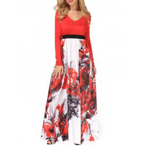 V Neck Long Sleeve Floral Maxi Dress - Red - Xl