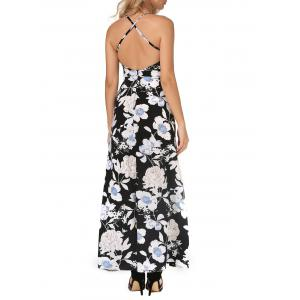 Backless Maxi Floral Slip Beach Dress with Slit - BLACK XL
