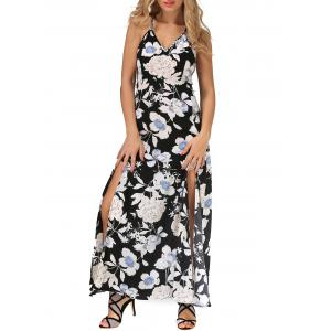 Backless Maxi Floral Slip Beach Dress with Slit - Black - S