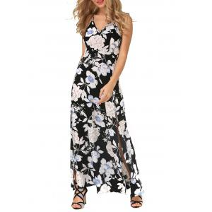 Backless Maxi Floral Slip Beach Dress with Slit -