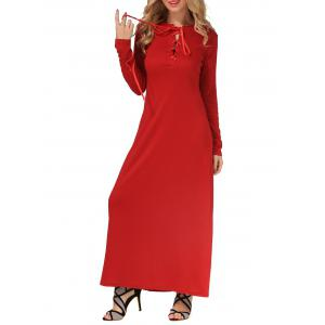 Casual Long Sleeve Maxi Lace-Up Dress -