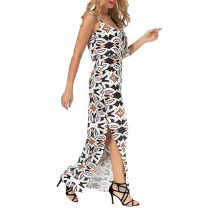 Printed Slit Long Cami Bodycon Overlay Dress -