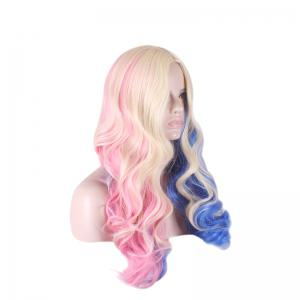 Colored Long Middle Part Wavy Harleen Quinzel Cosplay Synthetic Wig - COLORFUL