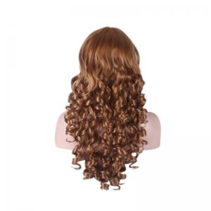 Long Side Bang Curly Cosplay Synthetic Wig - BROWN