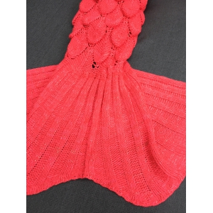 Crochet Knitting Fish Scales Design Mermaid Tail Style Blanket - RED M