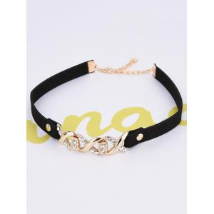Rhinestone Infinite PU Leather Velvet Choker -