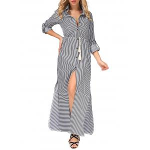 Belted Long Sleeve Striped Slit Shirt Maxi Dress - GRAY XL