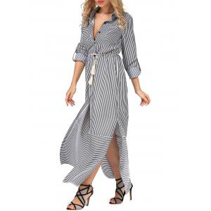 Belted Long Sleeve Striped Shirt Maxi Dress