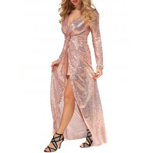 Long Prom Sequin Knot Dress with Sleeves - CHAMPAGNE GOLD XL