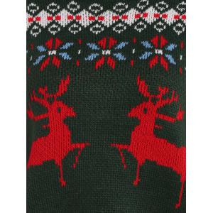 Crew Collar Christmas Sweater With Reindeer Graphic - BLACKISH GREEN ONE SIZE