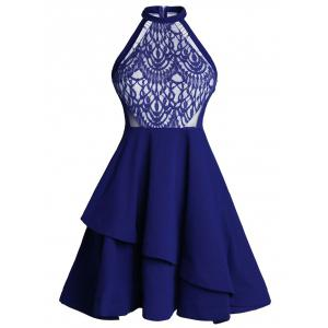 Lace Panel Flounce Skater Cocktail Dress - Blue - L