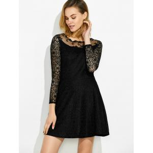 Fit and Flare Lace Trim Dress -