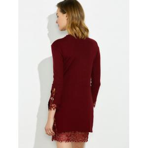 Mock Neck Knitted Layered Sweater Dress With Lace Trim -